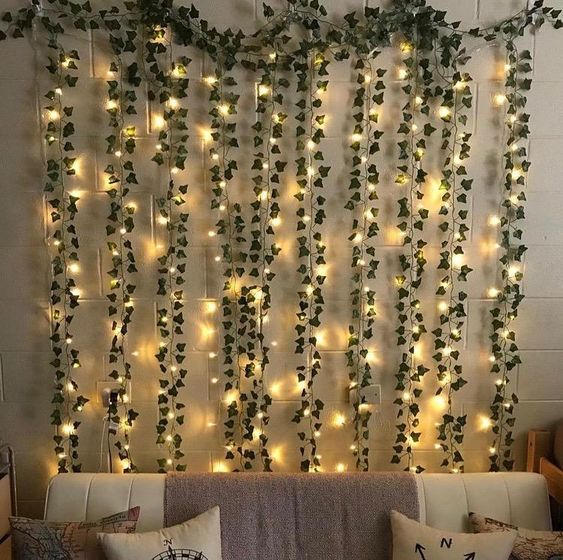 vines and string light as a perfect items to beautify the bedroom