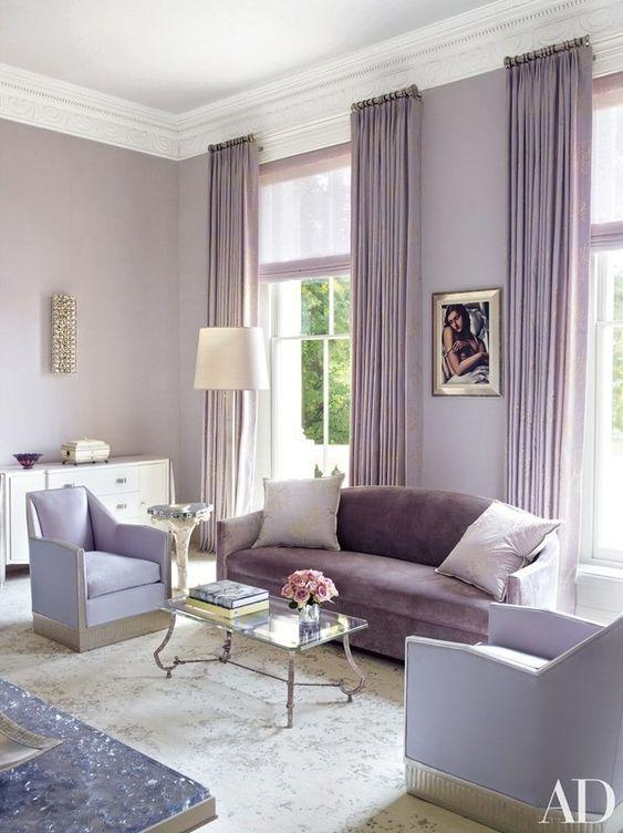 violet scheme color for minimalist living room