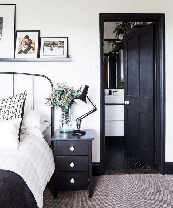 bright monochrome bedroom