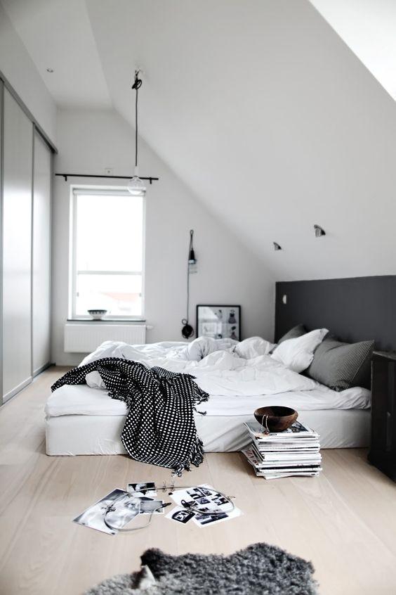 bright monochrome bedroom look