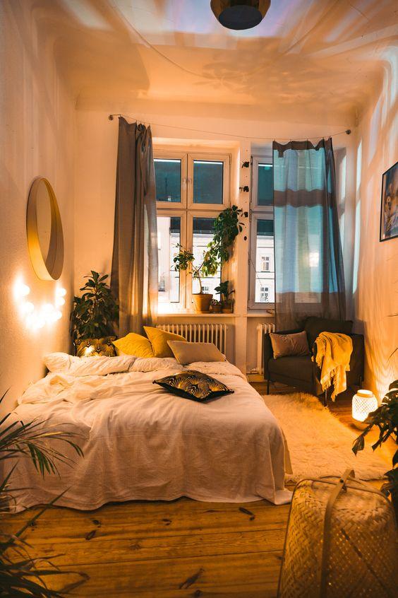 warm lighting to make a bedroom feel cozy