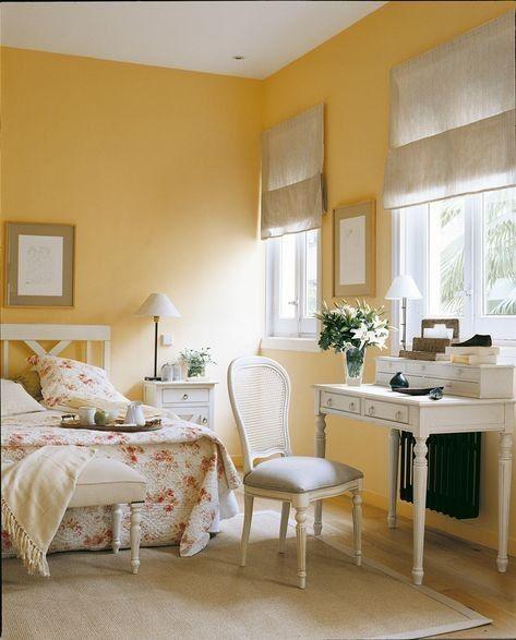 beautiful yellow bedroom