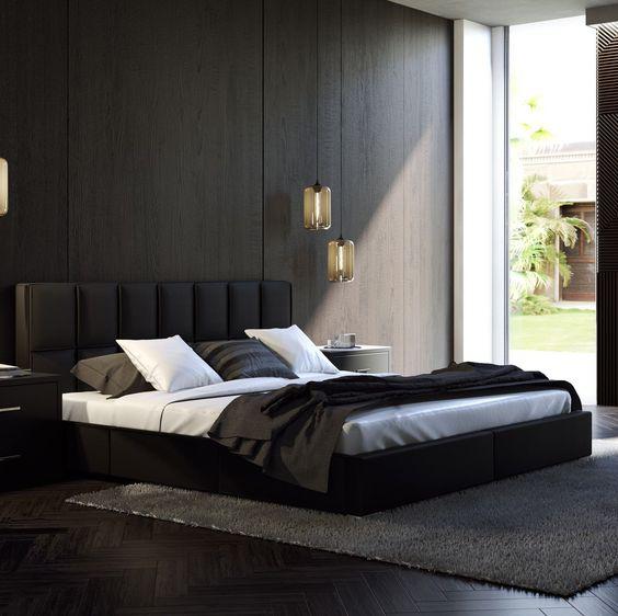 black furniture for monochrome bedroom