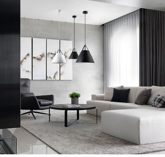 small monochrome living room