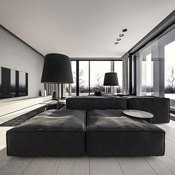 simple elegant monochrome living room