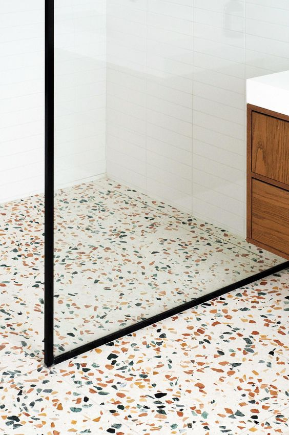Terrazo flooring for bathroom renovation