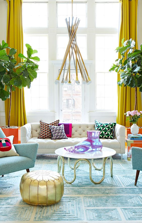 Yellow Pendant make the living room feel joyful
