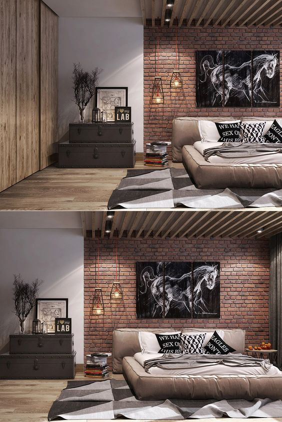 industrial bedroom with exposed brick walls