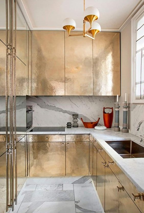 gold metalic kitchen cabinet
