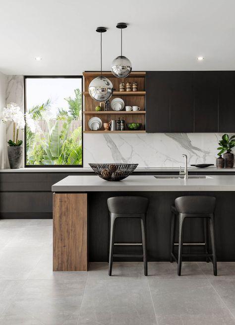 luxurious monochrome kitchen elegant and modern