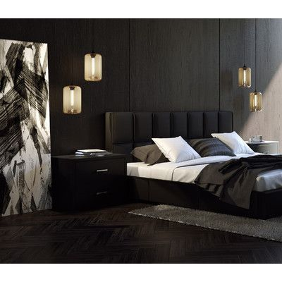 monochrome bedroom with black color dominant