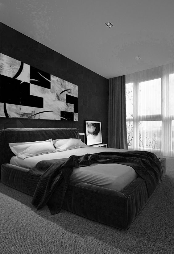 monochrome bedroom design with white bedding