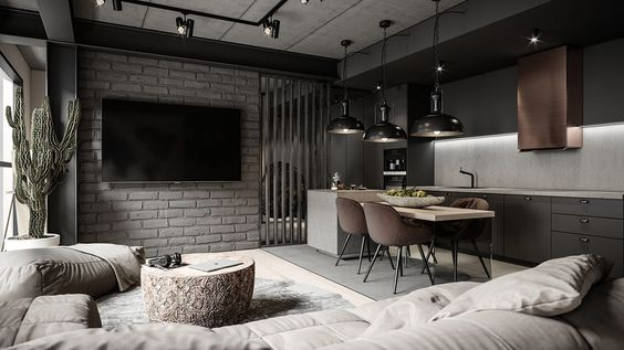 industrial apartment with monochrome style