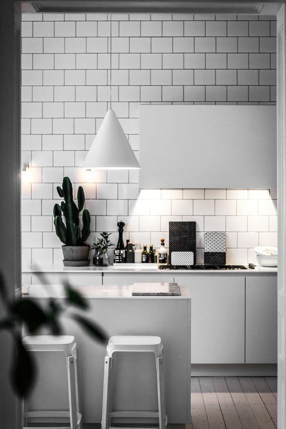 right lighting for monochrome kitchen modern
