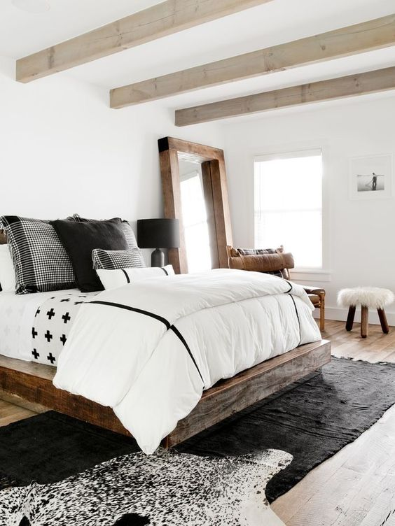 monochrome look at rustic bedroom