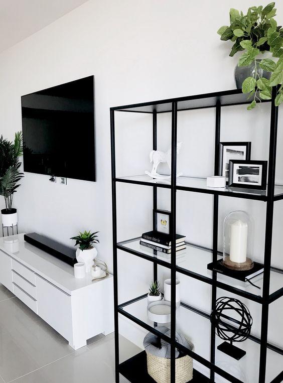 led tv for monochrome apartment decor