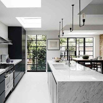 big window for monochrome kitchen