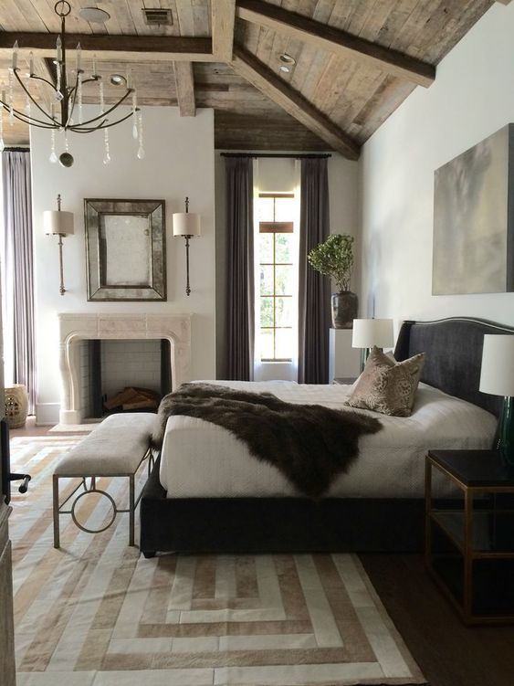 monochrome rustic bedroom design