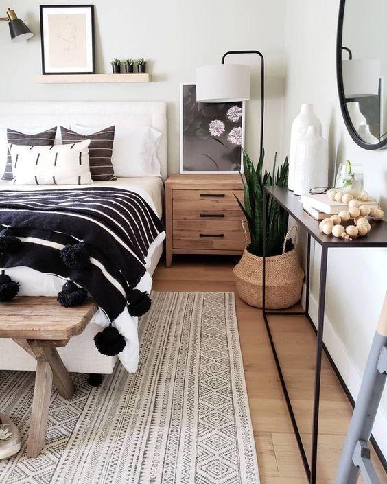 comfortable rustic monochrome bedroom