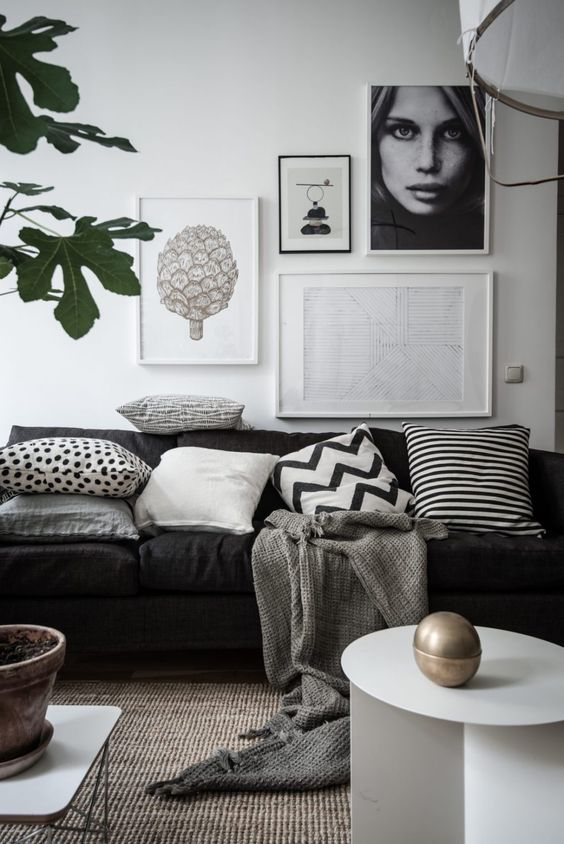 Scandi monochrome living room