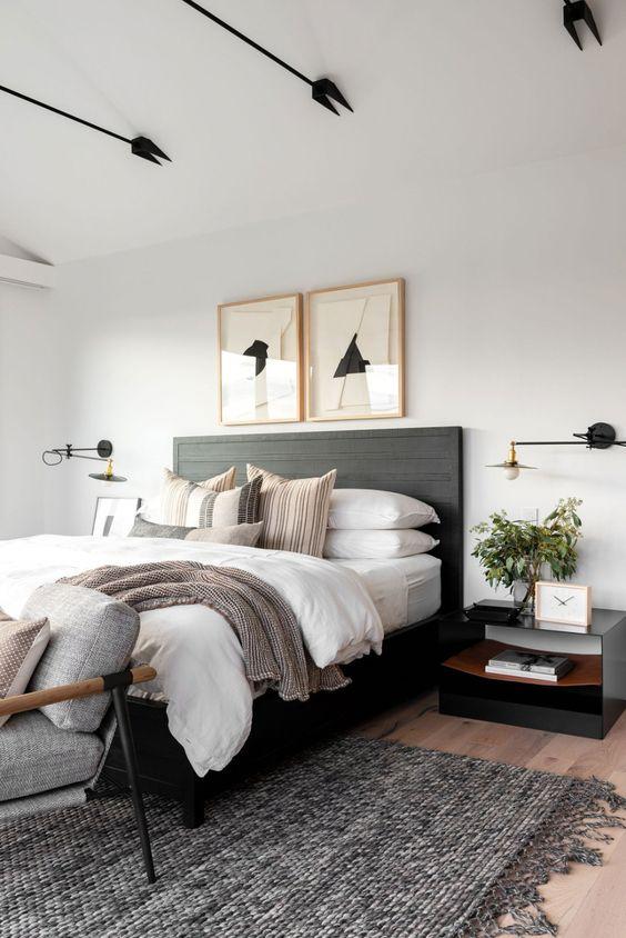 black bed for scandinavian bedroom design