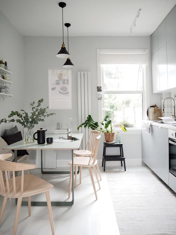 Beautiful Small Scandinavian Kitchen Dining Room Design