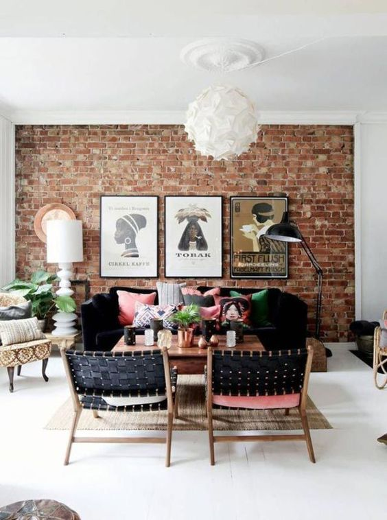 tribal living room with exposed brick wall