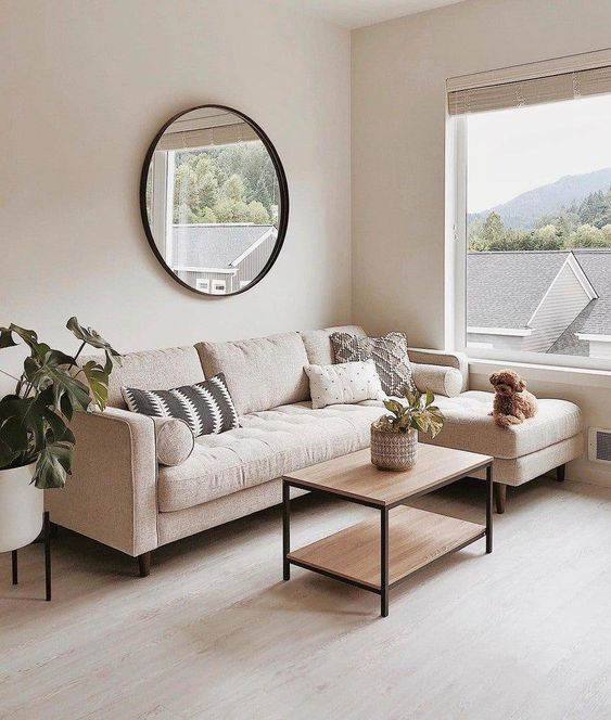 minimalist living room with beige as a base color