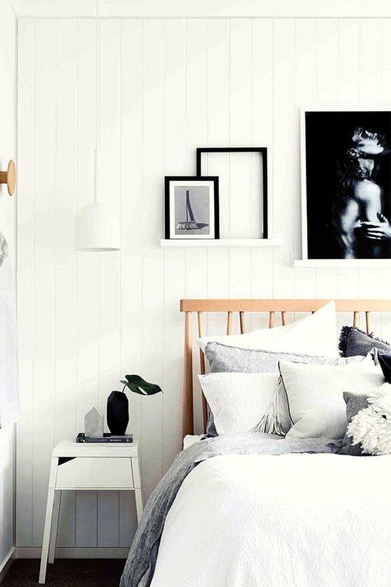 bright rustic monochrome bedroom decor